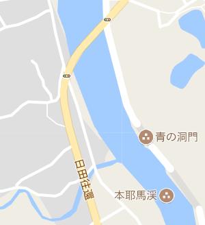 Gooble Mapでの青の洞門周辺、日田往還という街道が表記されている