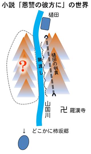 山国川の両岸に山があり、鎖渡し、樋田の刳貫というトンネルがある。羅漢寺と柿坂郷がどこらへんかにある