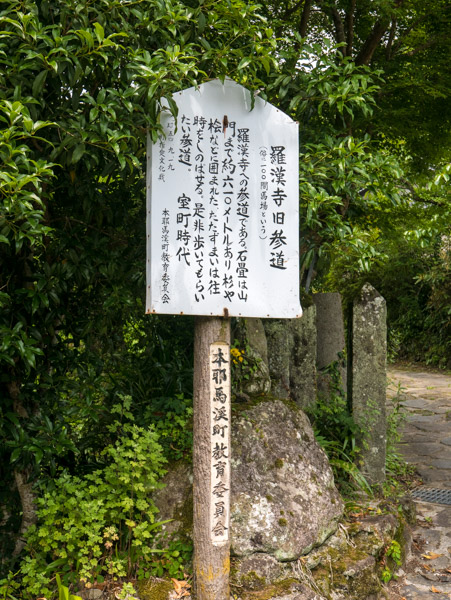 羅漢寺旧参道の案内板