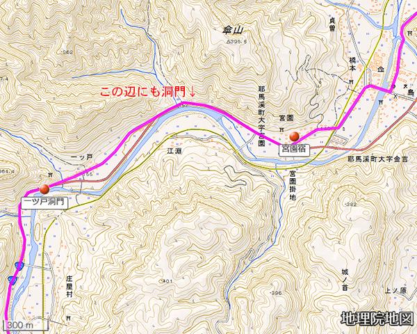 一ツ戸洞門周辺図、宮園洞門の大体の位置も示してある