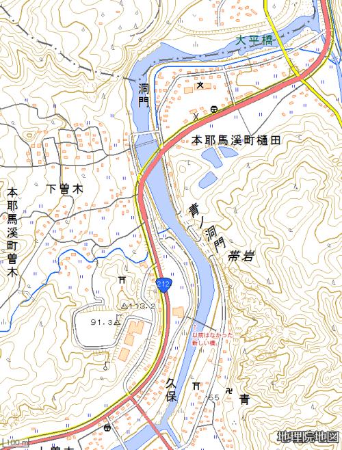 青の洞門周辺図
